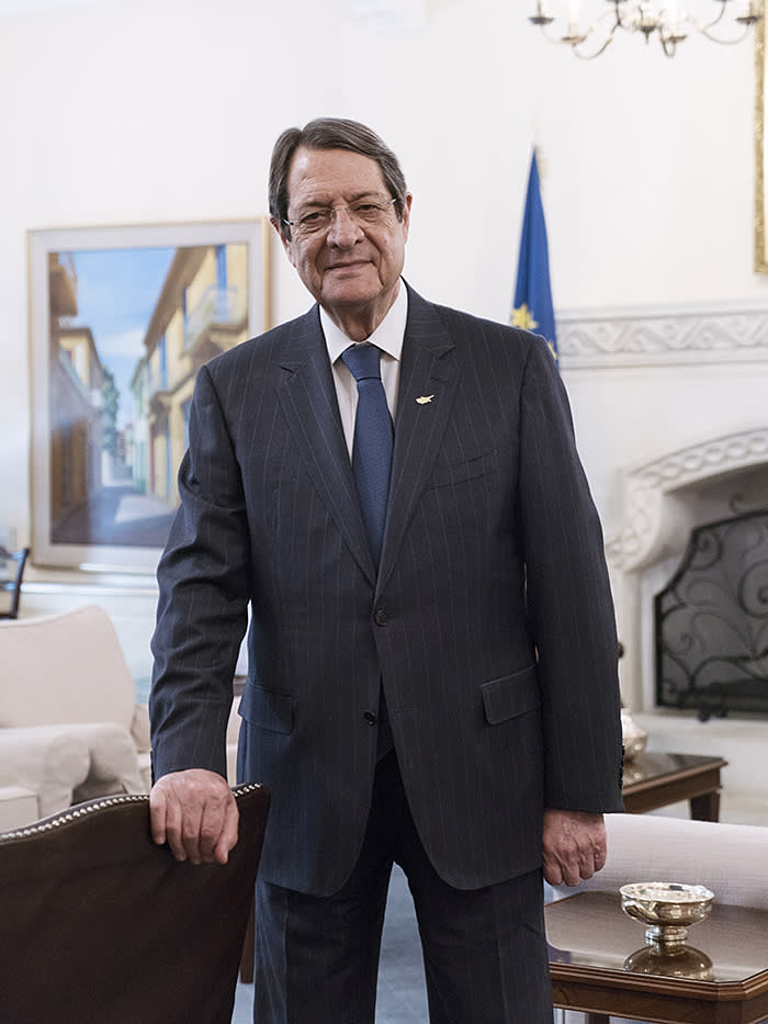 Cyprus's president, Nicos Anastasiades, who introduced the 'golden passport' citizenship scheme. He denies that his government is too close to the Kremlin, saying, 'Our family is European'