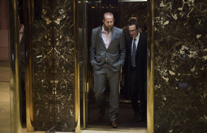 NEW YORK, NY - NOVEMBER 16: Brad Parscale, who was the Trump campaign's digital director, makes his way out of the elevator at Trump Tower in New York, NY on Wednesday, Nov. 16, 2016. (Photo by Jabin Botsford/The Washington Post via Getty Images)