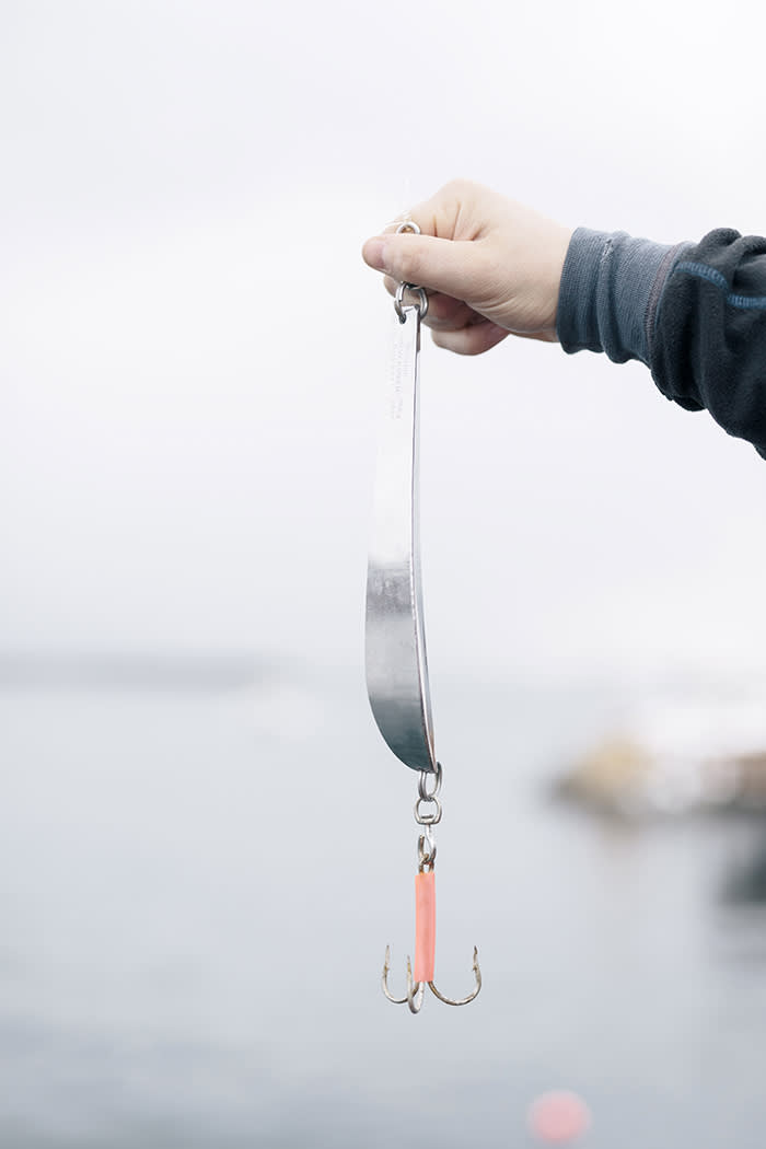 A fisherman's lure, a lead weight in a shiny chrome sheath, with triple-barbed hooks. There is no attempt to conceal them with bait – the ravenous cod will bite at anything