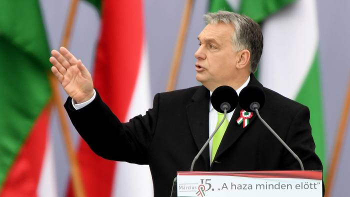 Hungarian Prime Minister Viktor Orban delivers a speech in front of the Hungarian Parliament in Budapest on March 15, 2018, during the official commemoration of the 170th anniversary of the 1848-1849 Hungarian revolution. Tens of thousands of Hungarians took to the streets Thursday in separate national day demonstrations to both voice support for, and protest against, Prime Minister Viktor Orban, as an election April 8 nears. / AFP PHOTO / Attila KISBENEDEKATTILA KISBENEDEK/AFP/Getty Images