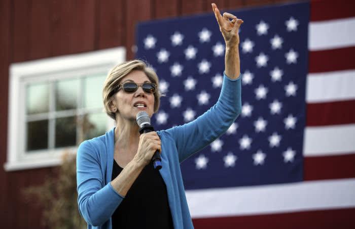 Democratic presidential candidate Sen. Elizabeth Warren, D-Mass., speaks at a campaign event Friday, Sept. 27, 2019, in Hollis, N.H. (AP Photo/Cheryl Senter)