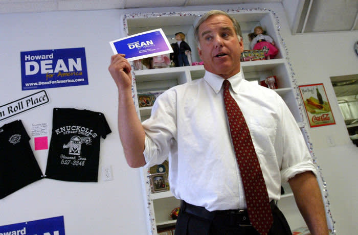 GLENWOOD, IOWA - AUGUST 6: Democratic presidential hopeful Howard Dean speaks at a diner August 6, 2003 in Glenwood, Iowa. Dean, a former Vermont governor, has become one of the leaders in the Democratic primary race. A new Iowa poll, looking at the Democratic competition for the state's precinct caucuses in January, has put Howard Dean and Rep. Richard Gephardt (D-MO) in the lead with 23 percent and 21 percent respectively. (Photo by Spencer Platt/Getty Images)