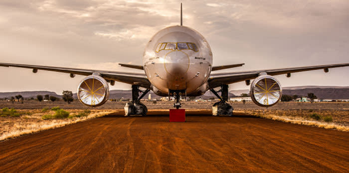 Alice Springs Aircraft Storage. Pic shows: a Boeing 777 in the dust