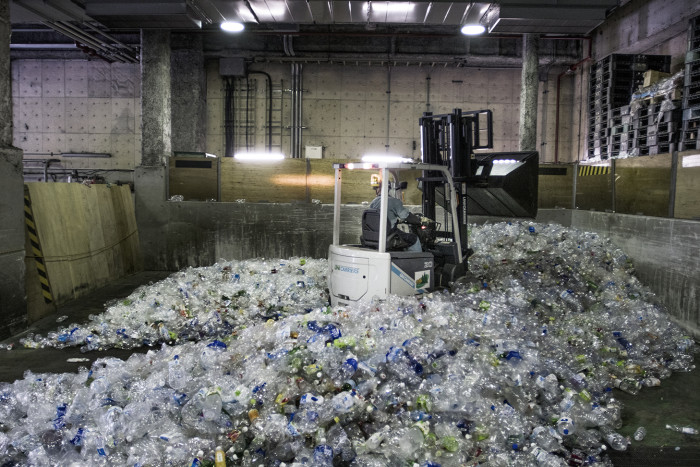 Plastic bottles being recycled at the Minato Resource Centre, Tokyo