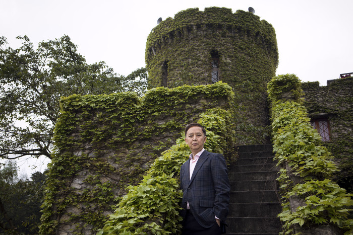 CHONGQING, CHINA - 3 APRIL 2019. Millionaire Liu Chonghua poses for a portrait at one of his castles in Chongqing. (Giulia Marchi for The Financial Times) pfeatures