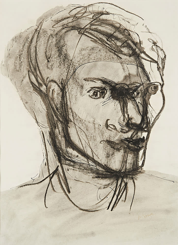 Henry Moore Portrait of Stephen Spender 1934 Pen and ink, chalk, brush and ink, wash 35 x 26 cm / 13 3/4 x 10 1/4 inches 58.5 x 47 x 1.5 cm / 23 x 18 1/2 x 5/8 in (framed) Photo: Dominic Brown Photography © The Henry Moore Foundation. All Rights Reserved, DACS / www.henry-moore.org 2018