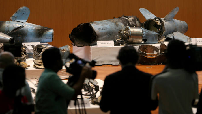 Remains of the missiles which Saudi government says were used to attack an Aramco oil facility, are displayed during a news conference in Riyadh, Saudi Arabia September 18, 2019. REUTERS/Hamad I Mohammed REFILE - ADDING INFORMATION