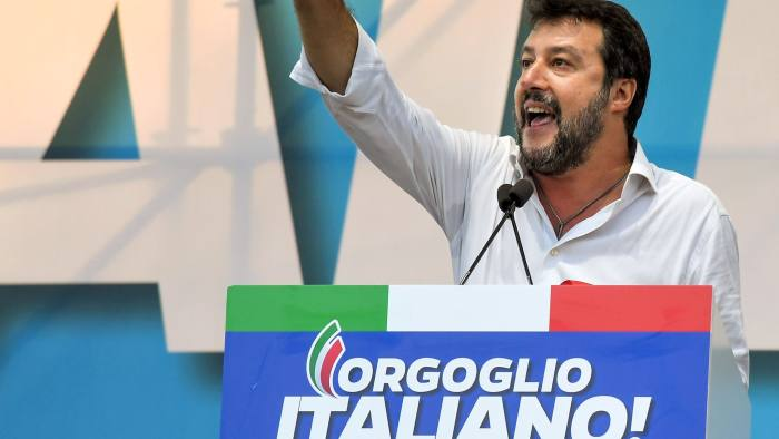 (FILES) In this file photo taken on October 19, 2019 leader of Italy's far-right League party, Matteo Salvini gestures as he speaks during a rally of Italy's far-right League party, conservative Brothers of Italy party and Forza Italia party against the government, in Rome. - Early results on October27, 219 showed Italy's right-wing opposition alliance were ahead in a regional election, heralded as a key test for the country's new left-leaning government. Firebrand Matteo Salvini is determined to wrest Umbria, a hilly region prized for its truffles and prosciutto, from the left which has governed it for 70 years by capitalising on a health scandal and biting economic crisis. (Photo by Tiziana FABI / AFP) (Photo by TIZIANA FABI/AFP via Getty Images)