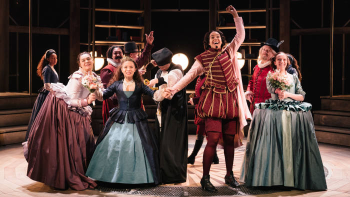 The cast of 'Emilia' at the Vaudeville Theatre