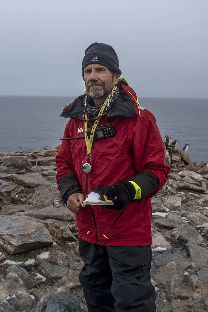 Steve Forrest, a conservation biologist who has studied Antarctica for more than 25 years, counting penguins in February this year. The use of drones combined with advances in computer algorithms means the monitoring of animals is getting easier