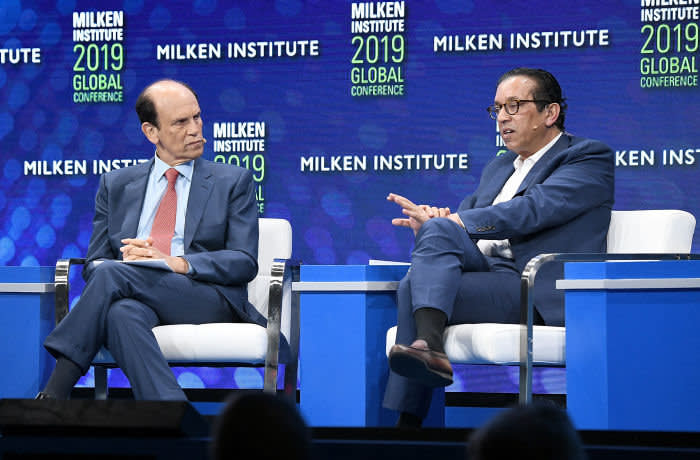 BEVERLY HILLS, CA - APRIL 29: Michael Milken, Chairman, Milken Institute (L) and Rajeev Misra, CEO, SoftBank Investment Advisers, participate in a discussion during the annual Milken Institute Global Conference at The Beverly Hilton Hotel on April 29, 2019 in Beverly Hills, California. (Photo by Michael Kovac/Getty Images)