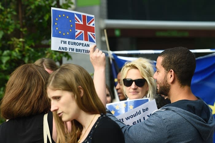 … alongside a group of British expats protesting about the result. As one EU official said to Barker: 'We are [now] faced with a million mad questions and we won't have answers anytime soon'