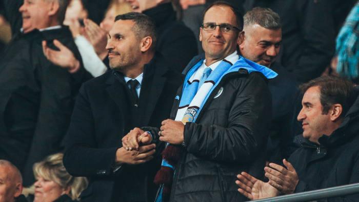 Khaldoon Al Mubarak, CFG and Man City chairman, alongside Egon Durban, Silver Lake managing partner, at the Manchester City vs Chelsea match
