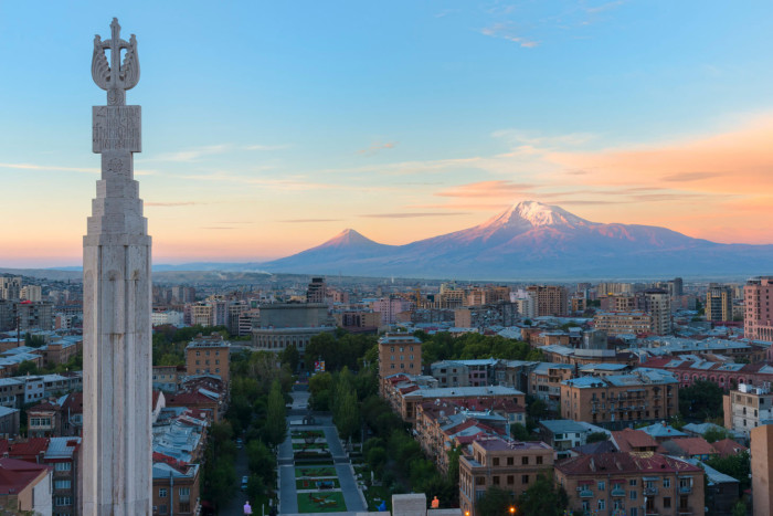 HG5BTN Mount Ararat and Yerevan viewed from Cascade at sunrise, Yerevan, Armenia, Central Asia, Asia credit alamy