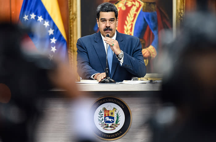 CARACAS, VENEZUELA - FEBRUARY 14: President of Venezuela Nicolas Maduro arrives to a press conference at Miraflores Palace on February 14, 2020 in Caracas, Venezuela. (Photo by Carolina Cabral/Getty Images)