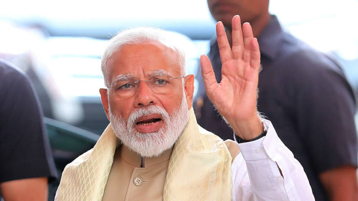 Mandatory Credit: Photo by HARISH TYAGI/EPA-EFE/REX/Shutterstock (10242573e) Bhartya Janta party (BJP) leader and Indian Prime Minister Narendra Modi upon his arrival and the party headquarters in New Delhi, India 21 May 2019. According to the exit polls prediction Narendra Modi is set to become the Prime Minister with BJP led National Democratic Alliance (NDA) government and just two days to go for the counting of votes Prime Minister Modi and BJP chief Amit Shah met the central ministers. Indian Prime Minister Modi meets Council Of Ministers, New Delhi, India - 21 May 2019