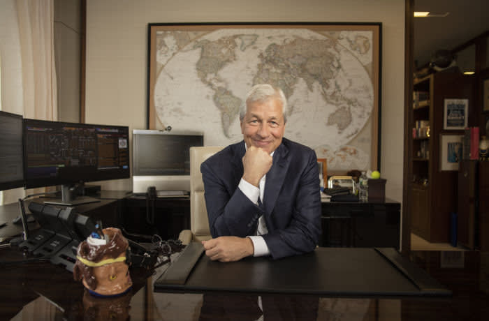 Chairman and CEO of JPMorgan Chase, Jamie Dimon photographed for the Financial Times in his office at the JP Morgan Chase headquarters in New York City