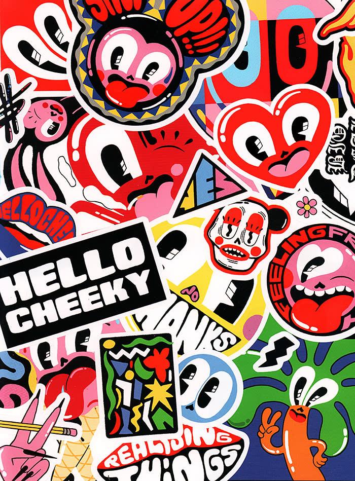 Stickers from Hattie Stewart's Doodlebomb Sticker Book.