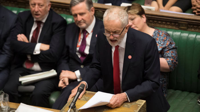Britain's opposition Labour Party leader Jeremy Corbynspeaks during debate in the House of Commons in London, Britain September 4, 2019. ©UK Parliament/Jessica Taylor/Handout via REUTERS ATTENTION EDITORS - THIS IMAGE WAS PROVIDED BY A THIRD PARTY