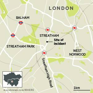 Locator map of Streatham, South London showing site of incident