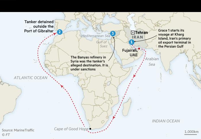 Map of Iranian oil tanker detained near Gibraltar