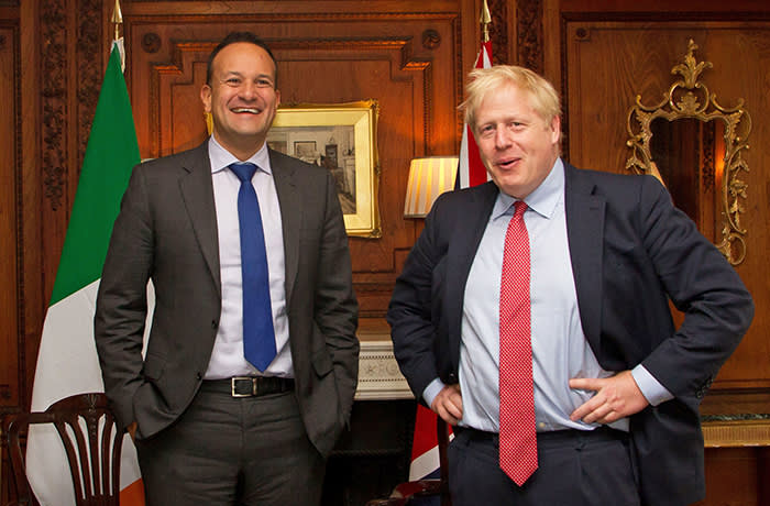 Handout photo issued by the office of Leo Varadkar showing the Taioseach meeting with Prime Minister Boris Johnson at Thornton Manor Hotel, on The Wirral, Cheshire, ahead of private talks in a bid to break the Brexit deadlock as the departure deadline looms. PA Photo. Picture date: Thursday October 10, 2019. See PA story POLITICS Brexit. Photo credit should read: UK Leo Varadkar/PA Wire NOTE TO EDITORS: This handout photo may only be used in for editorial reporting purposes for the contemporaneous illustration of events, things or the people in the image or facts mentioned in the caption. Reuse of the picture may require further permission from the copyright holder.PA Photo. Issue date: Thursday October 10, 2019.