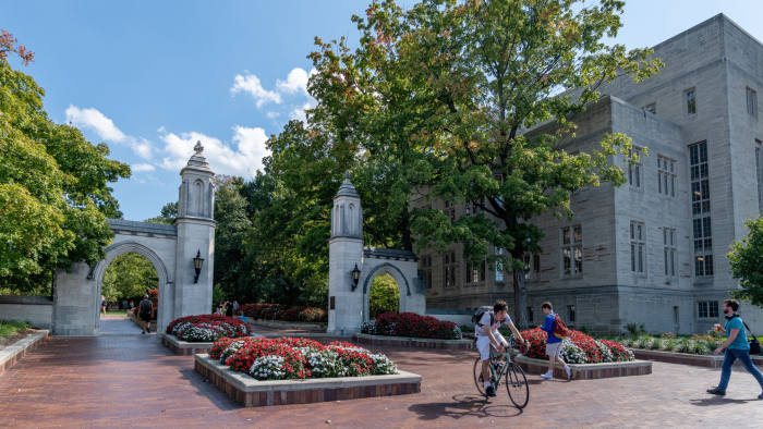 This image of Sample Gates was taken on October 8, 2018. Kelley School of Business. Indiana.