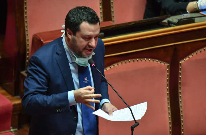 Mandatory Credit: Photo by ALESSANDRO DI MEO/EPA-EFE/Shutterstock (10594362a) The leader of Italy's far-right Lega party, Matteo Salvini, speaks during the testimony of Prime Minister Giuseppe Conte (not pictured) to the Senate about the current state of the coronavirus crisis, in Rome, Italy, 26 March 2020. Conte told senators: 'The virus doesn't know borders; like the wind, it goes where it pleases.' Italy has so far recorded over 74,000 confirmed cases of the pandemic COVID-19 disease caused by the SARS-CoV-2 coronavirus, which have resulted in over 7,500 deaths, a significantly higher death toll than in any other country in the world. Italian Prime Minister Conte reports to the Senate on latest coronavirus developments, Rome, Italy - 26 Mar 2020