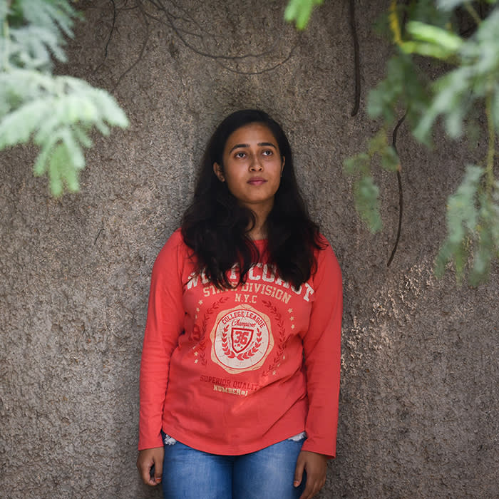 Upanita, 22, a university student living in New Delhi, photographed on 6th November, 2019. She and her classmates organised online Google hangout classes so that they could remain indoors and avoid exposing themselves to poor air quality. Air pollution in New Delhi and surrounding towns reached the worst levels declaring a public health emergency.