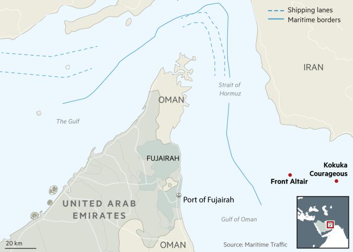 Oman tanker attacks map