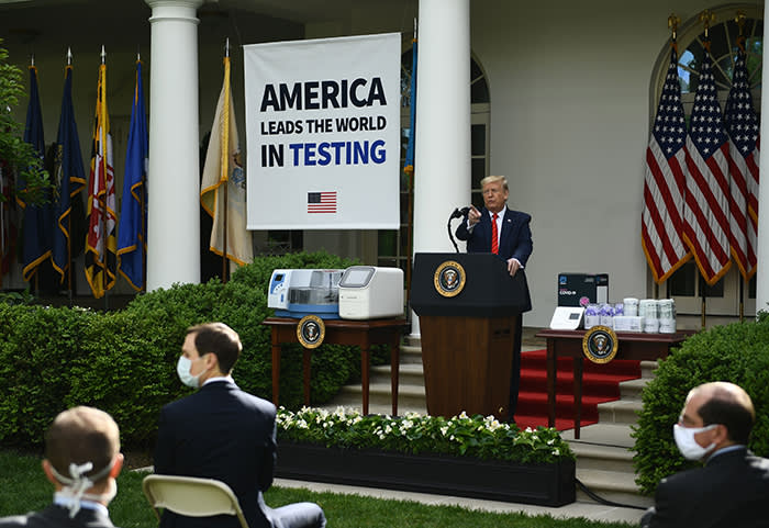 'We have prevailed,' said Trump at a White House news briefing about the coronavirus earlier this week