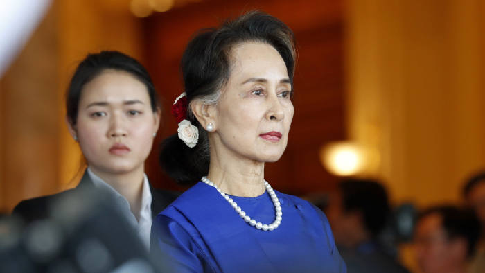 Mandatory Credit: Photo by NYEIN CHAN NAING/EPA-EFE/Shutterstock (10528849k) Myanmar State Counselor Aung San Suu Kyi (R) waits for the arrival of Chinese President Xi at the presidential house in Naypyitaw, Myanmar, 17 January 2020. President Xi is on a two-day official visit to Myanmar. Chinese President Xi Jinping visits Myanmar, Naypyitaw - 17 Jan 2020