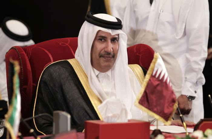 "Qatar's Prime Minister Sheikh Hamad bin Jassim bin Jabr Al-Thani attends the Gulf Cooperation Council ""GCC"" meeting in Manama, Bahrain, Thursday, Feb. 17, 2011. (AP Photo/Hassan Ammar)"