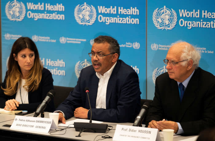 ATTENTION EDITORS - CAPTION CORRECTION FOR DBA03. WE ARE SORRY FOR ANY INCONVENIENCE CAUSED. REUTERS REFILE - CORRECTING DATE Director-General of World Health Organization (WHO) Tedros Adhanom Ghebreyesus takes part to a news conference after a meeting of the International Health Regulations (IHR) Emergency Committee for Pneumonia due to the Novel Coronavirus 2019-nCoV in Geneva, Switzerland, January 22, 2020. Christopher Black/WHO/Handout via REUTERS ATTENTION EDITORS - THIS IMAGE WAS PROVIDED BY A THIRD PARTY. TEMPLATE OUT