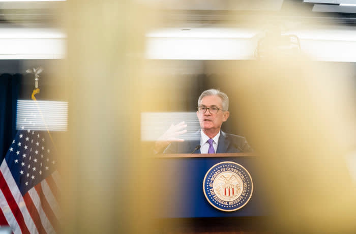 Mandatory Credit: Photo by JIM LO SCALZO/EPA-EFE/Shutterstock (10351517h) Federal Reserve Chairman Jerome Powell announces the Fed's decision to cut interest rates a quarter percent at a news conference following a Federal Open Market Committee meeting in Washington, DC, USA, 31 July 2019. The United States Federal Reserve lowered the key interest rate quarter a point for the first time since the 2008 financial crisis. Federal Reserve Chair Powell announces quarter percent cut on interest rates, Washington, USA - 31 Jul 2019