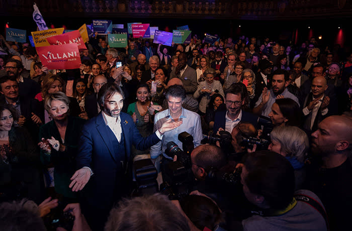 French mathematician and Paris city hall candidate Cedric Villani gestures during a campaign meeting at the Trianon Theatre in Paris, on February 5, 2020. (Photo by JOEL SAGET / AFP) (Photo by JOEL SAGET/AFP via Getty Images)