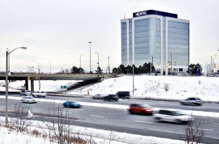 Traffic passes corporate headquarters Wednesday, Jan 14, 2009, as Nortel Networks Corp, applied for bankruptcy protection in Toronto, Ontario, Canada. Photographer: Norm Betts/Bloomberg News.