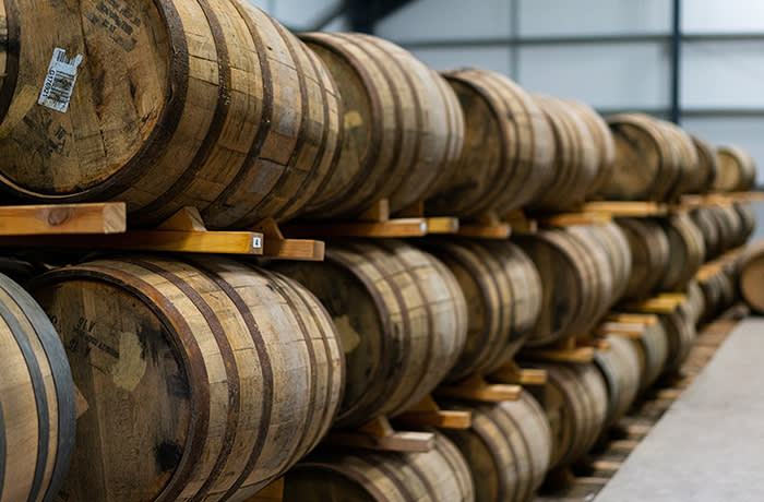 The cask warehouses at Nc'nean distillery, in Drimnin, Scotland