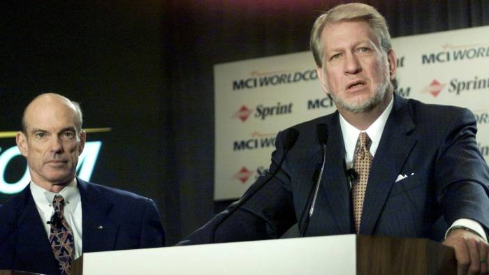 MCI WorldCom CEO Bernard Ebbers (R) and Sprint CEO William Ersey answer questions after announcing at a news conference October 5 that their companies will merge. The combined company, valued at $115 billion and to be called WorldCom, would have about 30 percent of the $90 billion U.S. long-distance market and create a formidable rival to market leader AT&T Corp.