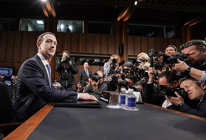 WASHINGTON, DC - APRIL 10: Facebook co-founder, Chairman and CEO Mark Zuckerberg awaits to testify before a combined Senate Judiciary and Commerce committee hearing in the Hart Senate Office Building on Capitol Hill April 10, 2018 in Washington, DC. Zuckerberg, 33, was called to testify after it was reported that 87 million Facebook users had their personal information harvested by Cambridge Analytica, a British political consulting firm linked to the Trump campaign. (Photo by Alex Wong/Getty Images)