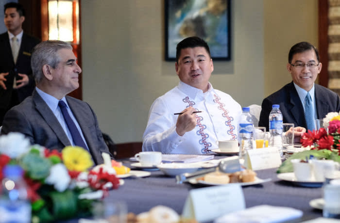 Dennis Uy, Chief Executive Officer of Phoenix Petroluem Philippines Inc., speaks during a rountable discussion at a Bloomberg event in Manila, the Philippines, on Monday, March 5, 2018. *** SECOND SENTENCE HERE ***. Photographer: Veejay Villafranca/Bloomberg