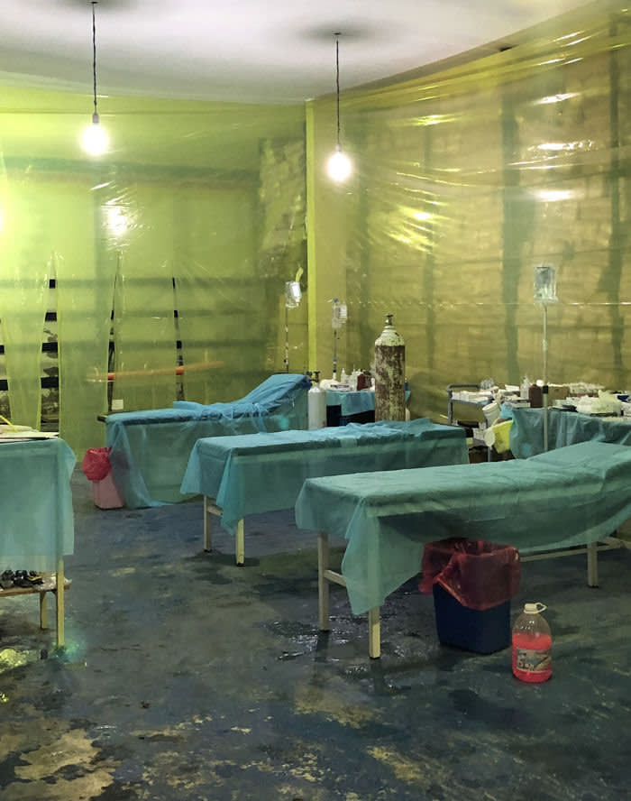 Libya Andrew England - A field hospital set up by the UN-backed government in a warehouse packed with nappies near the frontline in Tripoli