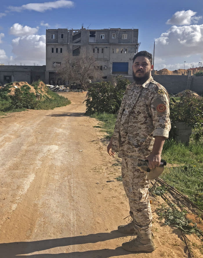 """Libya Andrew England Captain Mohammed Mukhtar, and officer in the """"Brothers Brigade"""" which is part of forces fighting for the UN-backed government to stem the offensive on Tripoli by General Khalifa Haftar."""