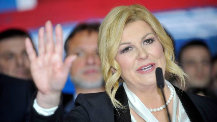 Croatia's outgoing president Kolinda Grabar-Kitarovic delivers a speech on January 5, 2020, in Zagreb, after initial results showed her opponent winning Croatia's presidential election. - A leftist former prime minister, who has pledged to make Croatia a tolerant country turning the page on its wartime past, has defeated the incumbent conservative in a presidential run-off vote on January 5, official results showed. (Photo by - / AFP) (Photo by -/AFP via Getty Images)