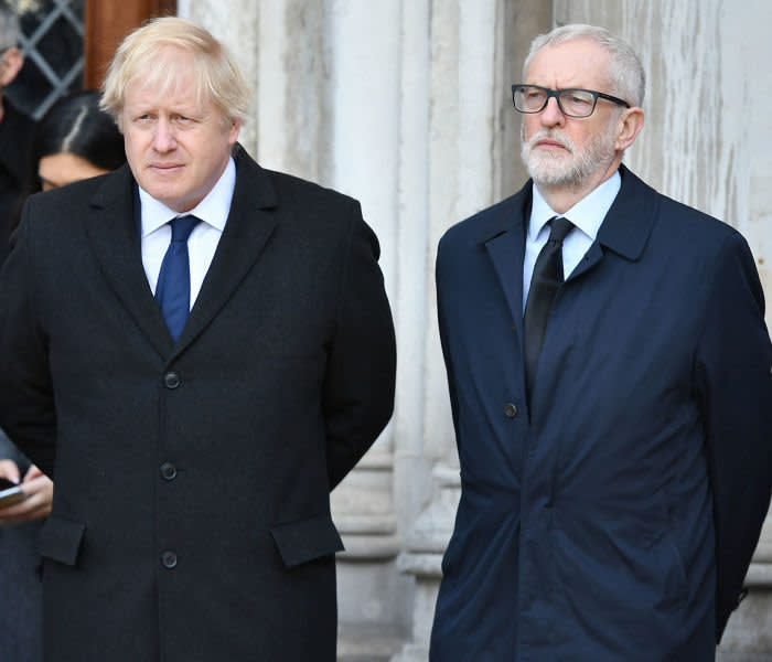 (left to right) Mayor of London Sadiq Khan, Prime Minister Boris Johnson and Labour leader Jeremy Corbyn take part in a vigil in Guildhall Yard, London, to honour the victims off the London Bridge terror attack, as well as the members of the public and emergency services who risked their lives to help others after a terrorist wearing a fake suicide vest went on a knife rampage killing two people, was shot dead by police on Friday. PA Photo. Picture date: Monday December 2, 2019. See PA story POLICE LondonBridge. Photo credit should read: Dominic Lipinski/PA Wire