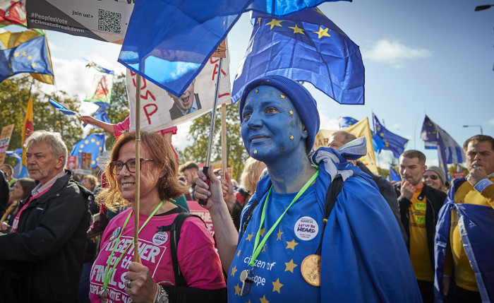 LONDON, ENGLAND - OCTOBER 19: Protestors march towards Parliament Square demanding a final say on the Government's Brexit deal during the People's Vote Rally on October 19, 2019 in London, England. Thousands have taken to the streets of London demanding a referendum to give the British public the final say on the Brexit. The march coincides with a rare Saturday sitting of Parliament, during which MPs will debate and vote on the Prime Ministers new Brexit deal. (Photo by Kiran Ridley/Getty Images)