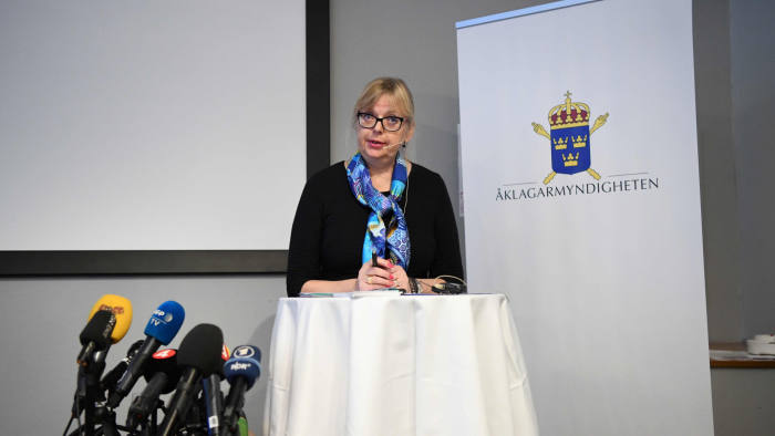 Deputy Director of Public Prosecution, Eva-Marie Persson speaks during a press conference on the development of the case of WikiLeaks founder Julian Assange on November 19, 2019 in Stockholm. - Assange, the Australian whistleblower who holed himself up in the Ecuadoran embassy in London for seven years to avoid a British extradition order to Sweden, was arrested on April 11, 2019 after Ecuador gave him up. Swedish prosecutor said Assange's rape probe has been dropped. (Photo by Jonathan NACKSTRAND / AFP) (Photo by JONATHAN NACKSTRAND/AFP via Getty Images)