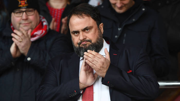 Nottingham forest owner Evangelos Marinakis applauds the Forest supporters during the Sky Bet Championship match between Nottingham Forest and Hull City at the City Ground, Nottingham on Saturday 9th March 2019. (Photo by Jon Hobley/MI News/NurPhoto via Getty Images)