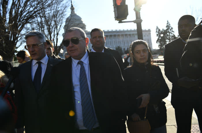 Lev Parnas walks past the US Capitol to give a press conference on January 29, 2020 in Washington, DC. - Lev Parnas and his business partner Igor Fruman are key players in US President Donald Trump's alleged campaign to pressure the government of Ukraine to dig up dirt on Joe Biden, a potential election opponent for the president. (Photo by Brendan Smialowski / AFP) (Photo by BRENDAN SMIALOWSKI/AFP via Getty Images)