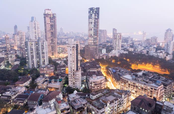 E5EEY6 South Mumbai from Kemp's corner at dusk, central Mumbai, India. Image shot 2014. Exact date unknown.